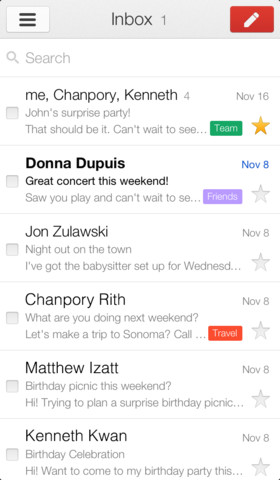 Google Gmail app iOS iPhone iPad