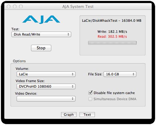 Lacie Rugged Thunderbolt Series Benchmark AJA System Test 4